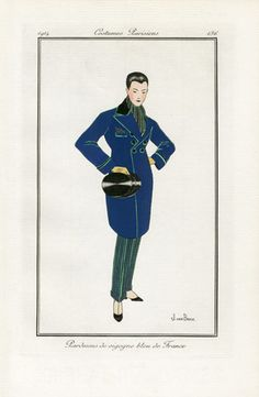 "Rare male fashion in a 1914 ""Journal des Dames et des Modes"", Pardessus de vigogne bleu de France  (Blue French Vicuna Overcoat), Designer Unknown, Illustrated by Jan van Brock"