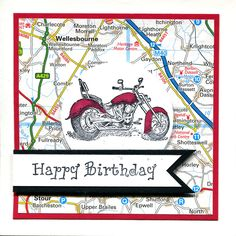 Handmade Card. Male card using Stampin' Up motorbike on recycled map.