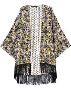 Kimono suelto geométrico flecos-amarillo