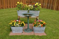 Beautiful gallery of flower box ideas.See garden flower box designs, the best flowers to use and pictures of wood, deck, fence, patio & window flower boxes. Garden Junk, Garden Yard Ideas, Garden Projects, Garden Art, Garden Design, Vintage Garden Decor, Diy Garden Decor, Flower Planters, Diy Planters