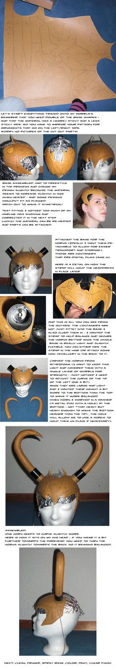 Worbla headdress - unfortunately I don't have worbla, but the idea of using old film canisters to mount the horns is smart.