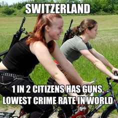 Switzerland - 1 in 2 citizens has guns. They have the lowest crime rate in the world.