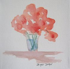 watercolor paintings of flowers | ORIGINAL WATERCOLOR PAINTING of Orange Flowers in Vase on Canvas