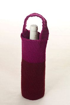 Crochet bottle carrier. Can use for gifting wine or a large bottle of water for a picnic