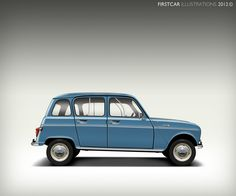 1966 - RENAULT 4L - firstcar illustrations #automotive #cars