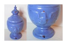 1964 Ceramic Eagle Jar Canister with Lid Blue by TimeEnoughAtLast