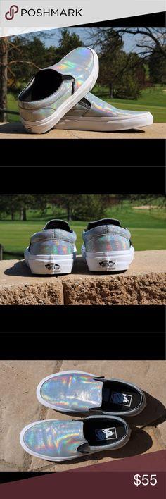 Holographic Vans Women's 7, men's 5.5, holographic slip on vans. Worn once Vans Shoes Sneakers