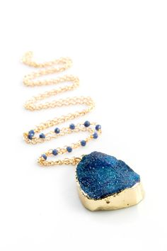 Gold Edged Cobalt Blue Druzy Necklace with lapis by joydravecky