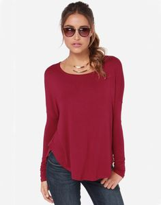 Shop Wine Red Long Sleeve Casual T-shirt online. Sheinside offers Wine Red Long Sleeve Casual T-shirt & more to fit your fashionable needs. Free Shipping Worldwide!