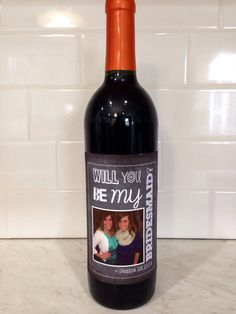 """custom """"will you be my bridesmaid"""" wine bottle label, bridesmaid wine label, asking bridal party, wedding party gift, bridesmaid photo"""