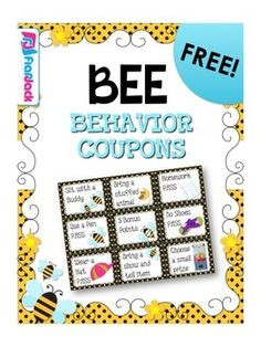 Whether you're doing the bee theme or not, these free behavior coupons will be sure to motivate your students! This freebie is apart of my BEE-THE. Behavior Coupons, Behavior Incentives, Classroom Rewards, Reward Coupons, New Classroom, Kindergarten Classroom, Classroom Themes, Behavior Management, Classroom Management