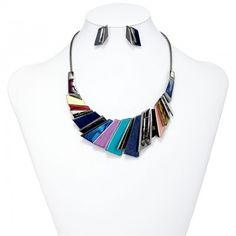 Multicolor Gunmetal Geometric Bib Necklace Earrings Set
