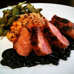 #Throwbackthursday! This was a #panseared #duckbreast #dish I made about a year ago with #quinoa and a #blueberry #glaze made with a #balsamicreduction, with a side of #arugala (my #favorite side of #greens). Have you ever tried #duck? Let me know. Tune in for more #glutenfree #cooking and #baking with me #gfsonise! #hormonefree #allnatural #balsamicvinegar #healthyoptions #foodporn #foodie #food #foodpic #glutenfreefoodporn #blueberries #instafood #truecooks #nobread #theartofplating