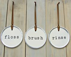 Floss Brush Rinse Floss Sign Bathroom Sign by ThreeBlueOwls, $84.00