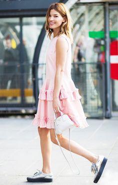 J Brand x Simone Rocha Ruffle Tier Cotton Twill Dress); Acne Studios shoes; Prada bag.