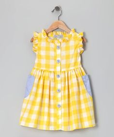 Yellow Checkerboard Picnic Dress (CINO coraline with full front placket, add pockets?) This is like some of he dresses my mother use to make for me when I was small. Toddler Dress, Toddler Outfits, Baby Dress, Girl Outfits, Infant Toddler, Toddler Girls, Dresses Kids Girl, Little Girl Dresses, Baby Girl Fashion