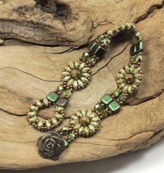 SUPERDUO CZECHMATE TILE Flower Bracelet - Ultra Green Luster  SuperDuos- Polychrome Olive Mauve Tiles - Czech Firepolished Beads - Bronze
