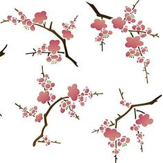 This classic Japanese flower stencils set features 5 different Cherry Blossom stencils that you can use in a free form manner to create a unique look on walls, furniture, and fabric. Wall Stencil Patterns, Stencil Designs, Damask Party, Damask Decor, Cherry Blossom Flowers, Japanese Flowers, Japanese Embroidery, Chinoiserie, Design Studio