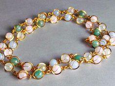 Jadite Rose Quartz Gold Necklace by vintagepaige on Etsy, $32.00