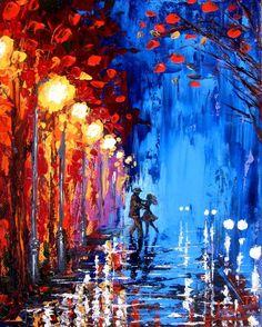 ~ Original Bailar pintura abstracta en la lluvia por ArtonlineGallery ~: