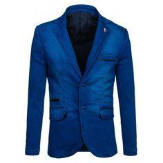 Sýto modré pánske sako s čiernym pásom na vreckách - fashionday.eu Suit Jacket, Breast, Blazer, Suits, Jackets, Fashion, Down Jackets, Outfits, Fashion Styles