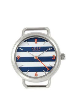 Round Timekey, silver navy stripe - $59