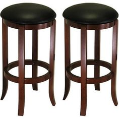 """30"""" Swivel Bar Stools with Faux Leather Seat, Set of 2, Black and Walnut, $100 , check to see it matches"""