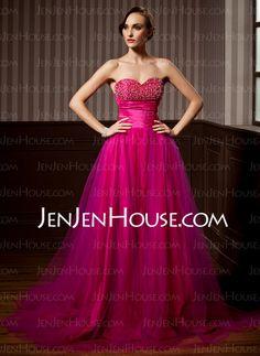 A-Line/Princess Namorada Trem da varredura Tafetá  Tule Prom Dresses com Preguear  Beading (018004811)