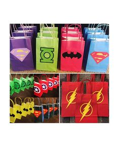 Paper party favor bags that are decorated with a variety of superhero themes. Each bag measures x wide enough to be filled with various party favors. Superhero Party Bags, Superhero Birthday Party, Birthday Favors, 3rd Birthday Parties, Diy Birthday, Superhero Classroom, Avenger Party, The Flash, Wonder Woman Party
