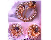 Vintage Demi Parure - Purple Rhinestone & Gold Filigree 3-D Brooch & Earrings. Encircled with Clear, Sparkly Rhinestones - Very Unique! Perfect Set! by MarlosMarvelousFinds