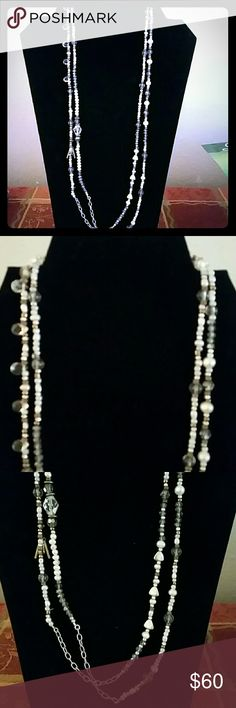 """Stardust necklace Swarovski crystals,  brass, sterling silver,  pearl. Very long, perfect layering necklace.  54"""" length.  Hardly used. Silpada Jewelry Necklaces"""
