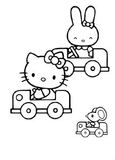Hello Kitty And Her Friends Are Driving Cars In This Color Sheet Free Printable Coloring Pages