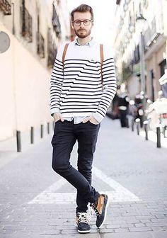 バスクボーダーTシャツの着こなし(メンズ)   Italy Web