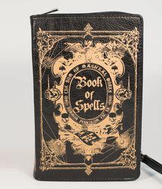 Black & Gold Book of Spells Crossbody Purse – Unique Vintage