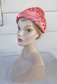 Early 1960s Vintage Norman Durand Pink Turban by MyVintageHatShop