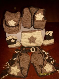 - Shaw Crocheting Cowboy Set  No pattern, must try to figure this out!