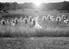 Wedding party pic in field at The Silo Wedding Photos