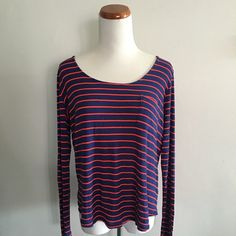Splendid Striped Long Sleeve Shirt - XL Great top from Splendid! Has red stripes on a navy blue background. The material is ribbed and has a nice stretch to it. Worn once and is in great condition. Splendid Tops Tees - Long Sleeve