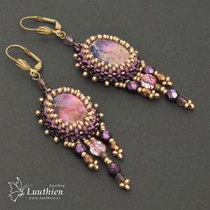 Myriah 01 by Luuthien - earrings, bead embroidery