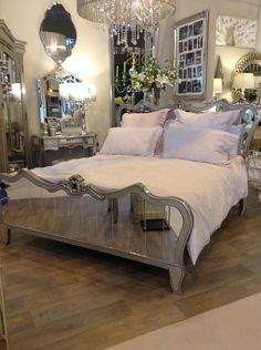 venetian mirrored king size bed frame with champagne trim - Mirrored Bed Frame