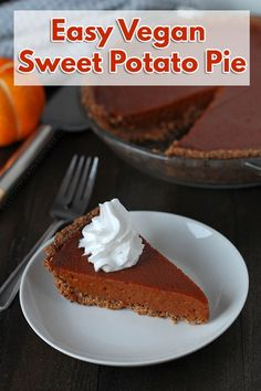 Lightly spiced vegan Lightly spiced vegan sweet potato pie with a gluten-free oat and almond crust. This smooth & silky pie will become a welcome addition to your holiday table! via Delightful Adventures Vegan Dessert Recipes, Vegan Sweets, Gluten Free Desserts, Dairy Free Recipes, Vegan Recipes Easy, Vegan Gluten Free, Vegan Meals, Fall Desserts, Pie Recipes