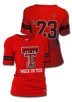 22e0c72adea6b Texas Tech Red Raiders T-Shirt- Junior Women s Red Sport V-Neck Raiders