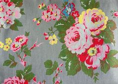 Cath Kidston, Candy Flower Rose Green, 100% Cotton Duck Fabric per metre #CathKidston