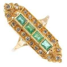 Lot: A 14ct gold emerald and diamond dress ring. The, Lot Number: 0200, Starting Bid: £120, Auctioneer: Fellows, Auction: Jewellery, Date: July 6th, 2017 CDT