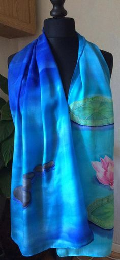 Water lilies silk scarf by T. Silk Art, Water Lilies, Silk Painting, Lily, Hand Painted, Fashion, Moda, Fashion Styles, Orchids