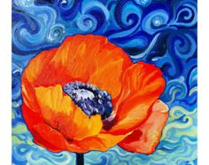 acrylic painted orange poppies with blue flowers - Google Search