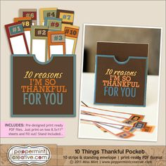 10 Things Thankful Pocket - $3.25 : Peppermint Creative, Digital Scrapbook Supplies