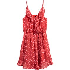 Omlottklänning med volanger 199 ($25) ❤ liked on Polyvore featuring red polka dot dress, red ruffle dress, flutter-sleeve dress, v-neck dresses and woven dress