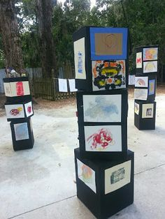 Preschool art show...LOVE THIS IDEA!!!
