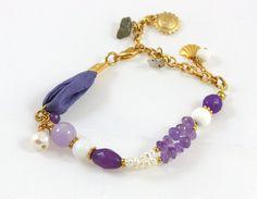 Natural Gemstone Bracelet  Amethyst howlite pearl by VivaTheLove, $15.00